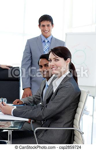 mezinárodní, usmívaní, kamera, business národ - csp2859724
