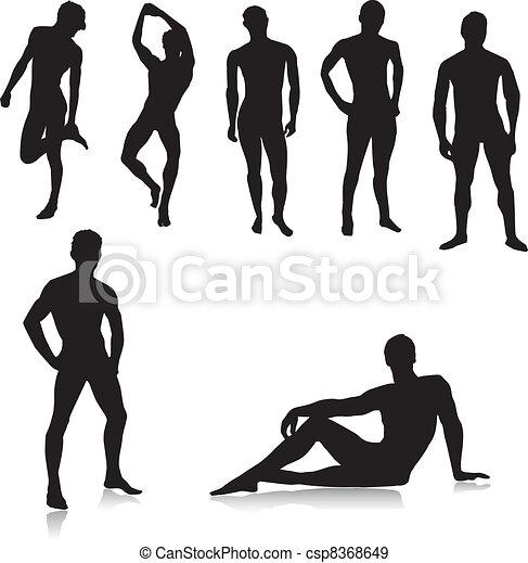 meztelen, hím, silhouettes.vector - csp8368649