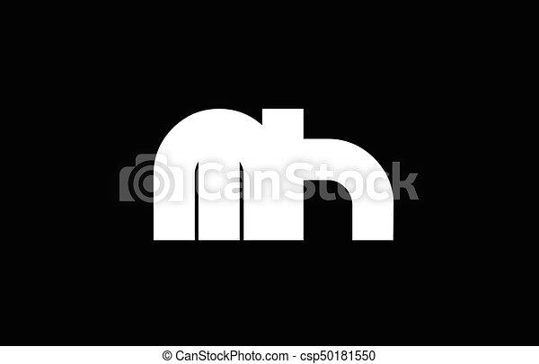 Mh M H Black White Bold Joint Letter Logo Mh M H Letter Logo