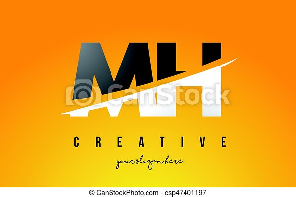 MH M H Letter Modern Logo Design With Yellow Background And Swoosh