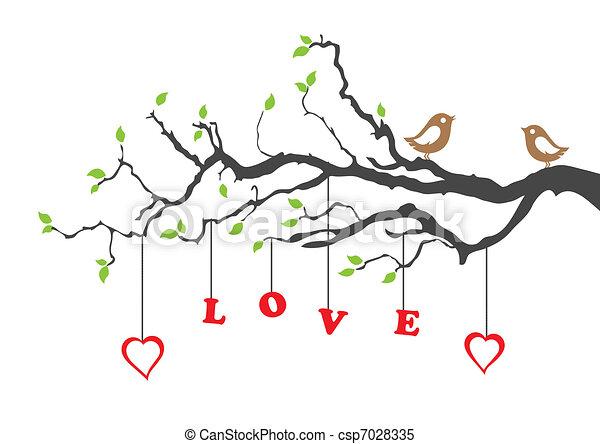 miłość, drzewo, dwaj ptaszki - csp7028335