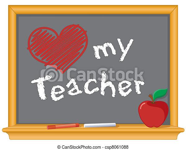 miłość, mój, nauczyciel, tablica - csp8061088