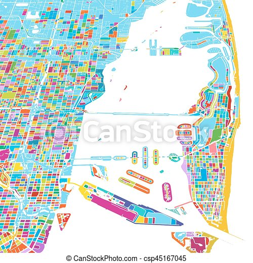 Miami and miami beach colorful vector map Wales great eps
