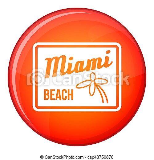 Miami beach icon, flat style - csp43750876