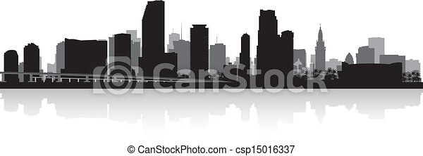Miami city skyline silhouette - csp15016337