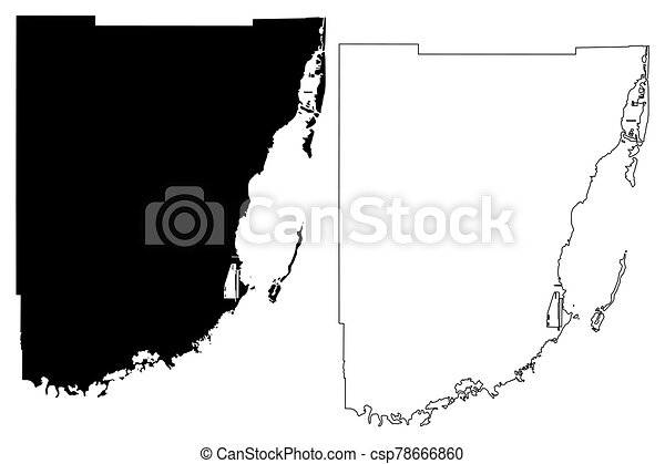 Miami-Dade County, Florida (U.S. county, United States of America, USA, U.S., US) map vector illustration, scribble sketch Miami Dade map - csp78666860
