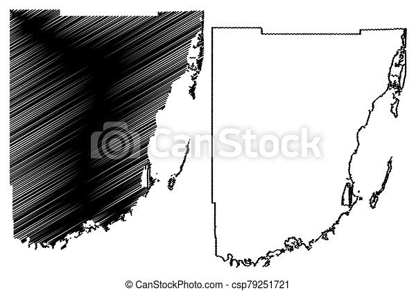 Miami-Dade County, Florida (U.S. county, United States of America, USA, U.S., US) map vector illustration, scribble sketch Miami Dade map - csp79251721