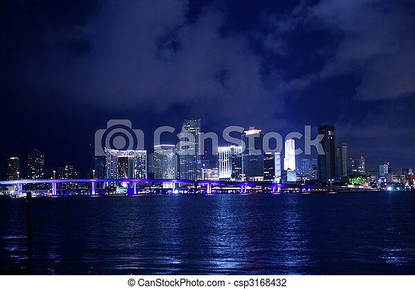 Miami downtown night water city reflexion - csp3168432
