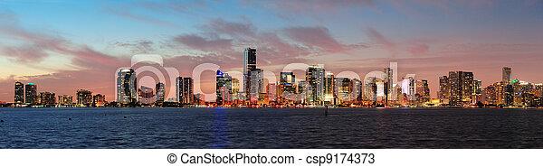 Escena nocturna de Miami - csp9174373