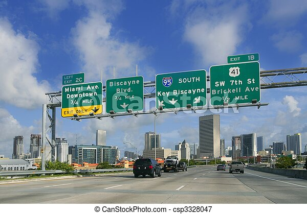miami, florida, downtown, klee, tekens & borden, biscayne, straat - csp3328047