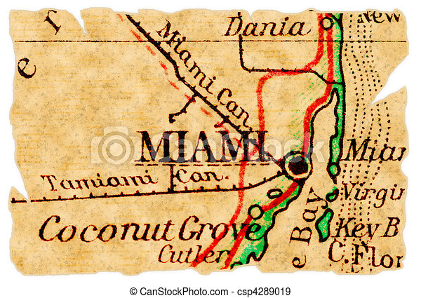 Miami old map. Miami, florida on an old torn map from 1949, isolated on
