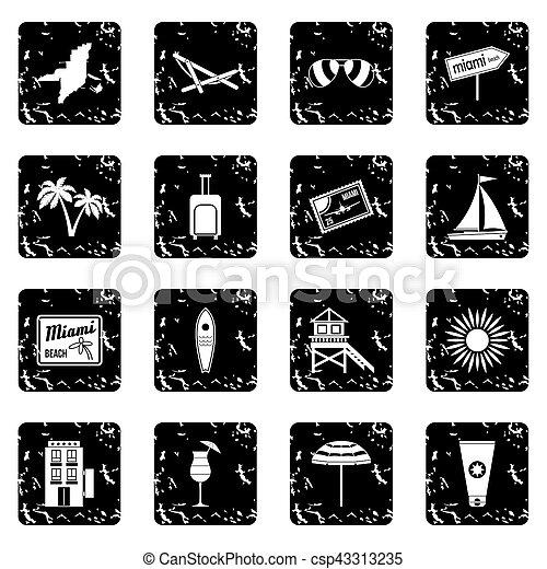 Miami set icons, grunge style - csp43313235