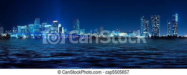 Miami Skyline at night - csp5505657