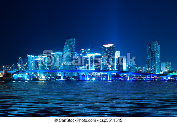Miami Skyline at night - csp5511545