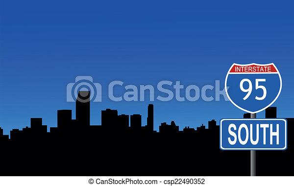 Miami skyline interstate sign - csp22490352