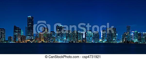 Miami skyline night panorama - csp4731921