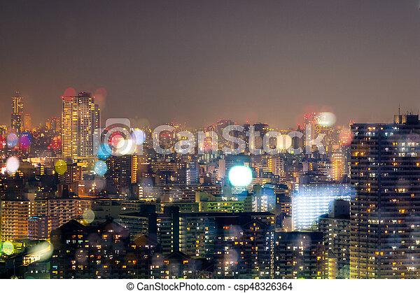 miasto, życie nocne, bokeh, tło, plama - csp48326364