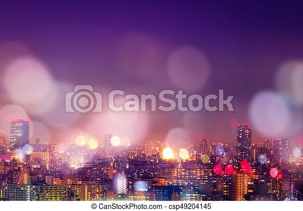 miasto, życie nocne, bokeh, tło, plama - csp49204145