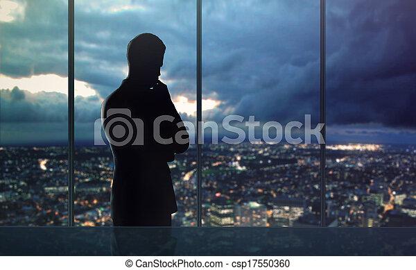 miasto, życie nocne, człowiek - csp17550360