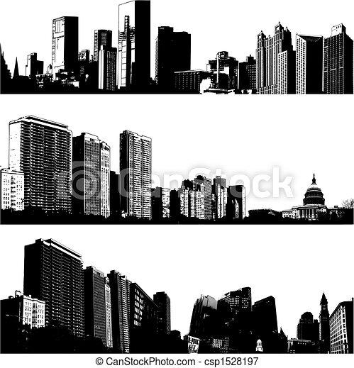 miasto, 3, wektor, profile na tle nieba - csp1528197