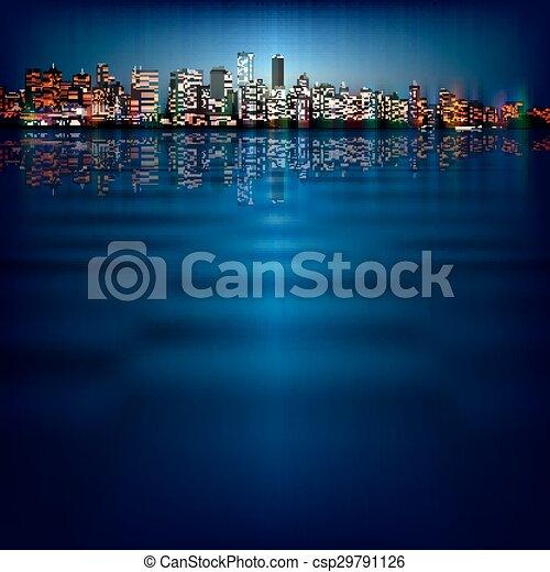 miasto, abstrakcyjny, sylwetka, tło - csp29791126