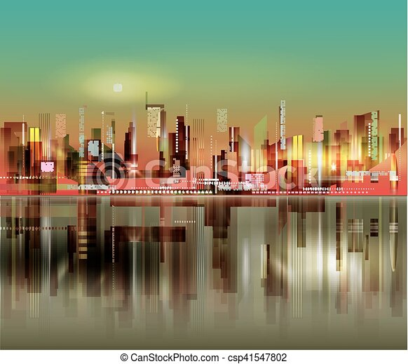 miasto, abstrakcyjny, sylwetka, tło, noc - csp41547802