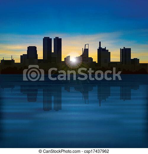 miasto, abstrakcyjny, sylwetka, tło, noc - csp17437962