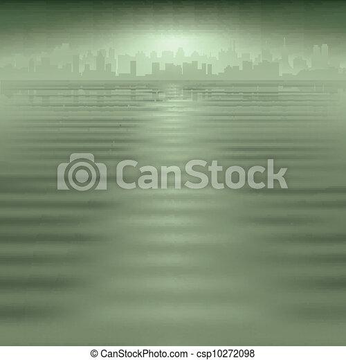 miasto, abstrakcyjny, sylwetka, tło - csp10272098