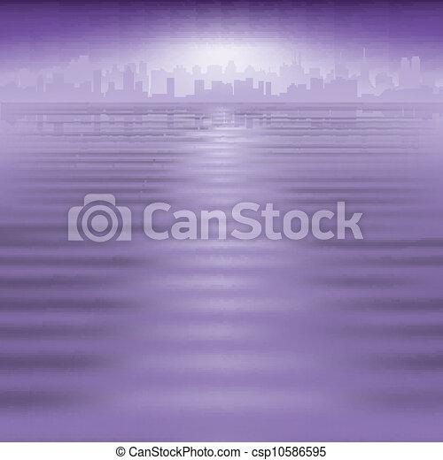 miasto, abstrakcyjny, sylwetka, tło - csp10586595