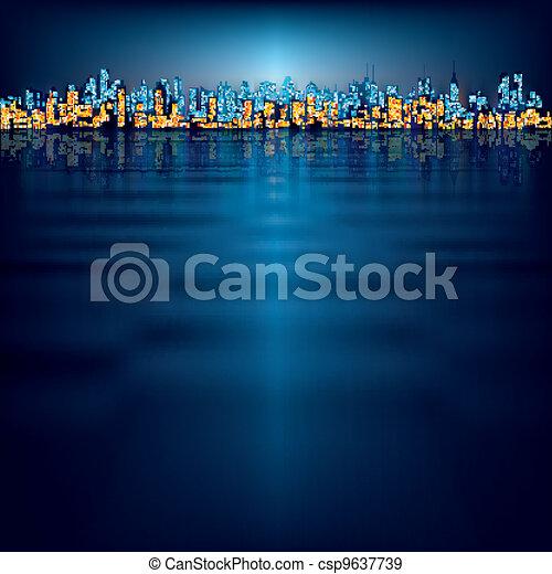 miasto, abstrakcyjny, sylwetka, tło - csp9637739