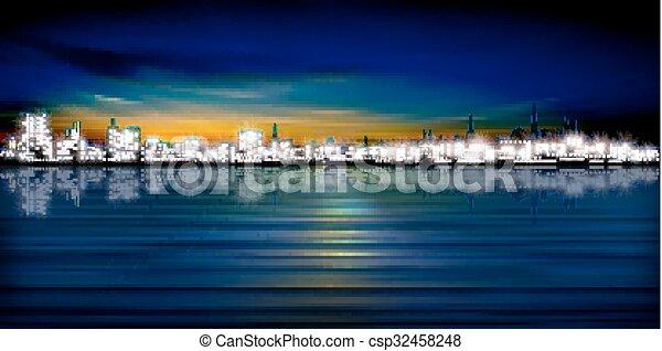 miasto, abstrakcyjny, sylwetka, tło - csp32458248