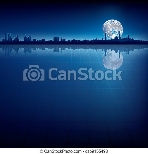 miasto, abstrakcyjny, sylwetka, tło, księżyc - csp9155493