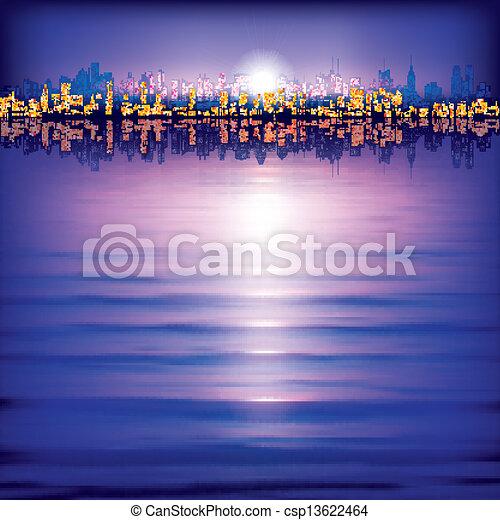 miasto, abstrakcyjny, sylwetka, tło - csp13622464