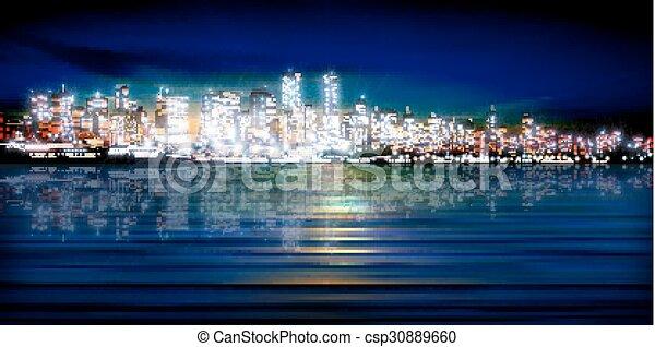 miasto, abstrakcyjny, sylwetka, tło - csp30889660