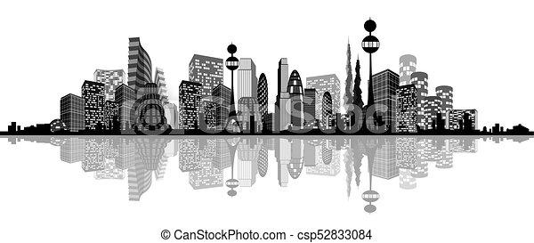 miasto, abstrakcyjny, sylwetka - csp52833084