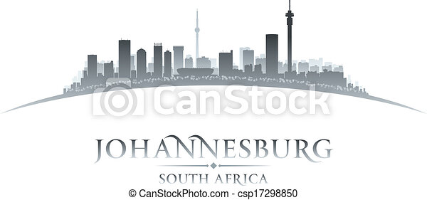 miasto, afryka, johannesburg, ilustracja, silhouette., sylwetka na tle nieba, wektor, południe - csp17298850