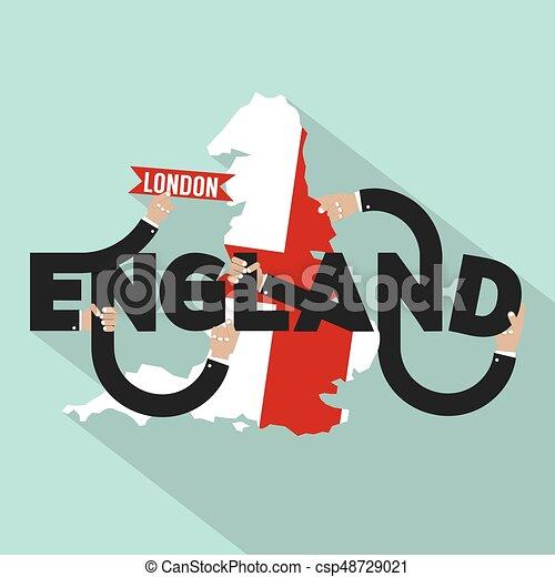 miasto, anglia, typografia, ilustracja, wektor, londyn, kapitał, projektować - csp48729021