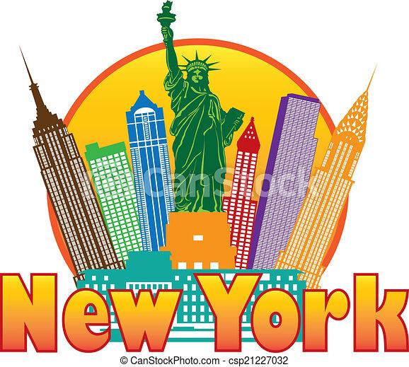miasto, barwny, ilustracja, sylwetka na tle nieba, york, nowy, koło - csp21227032
