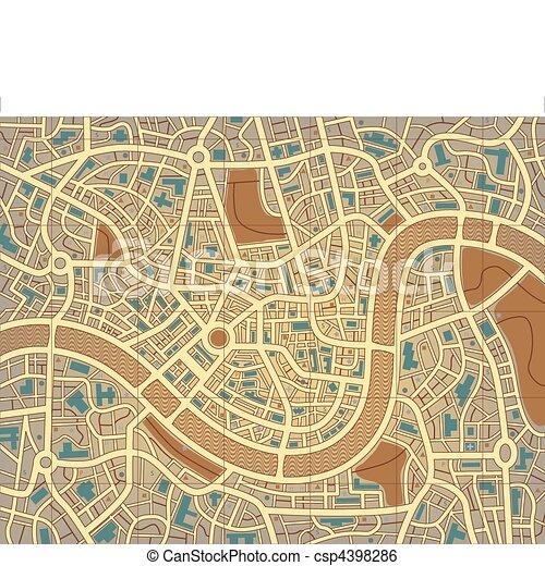 miasto, bezimienny, mapa - csp4398286