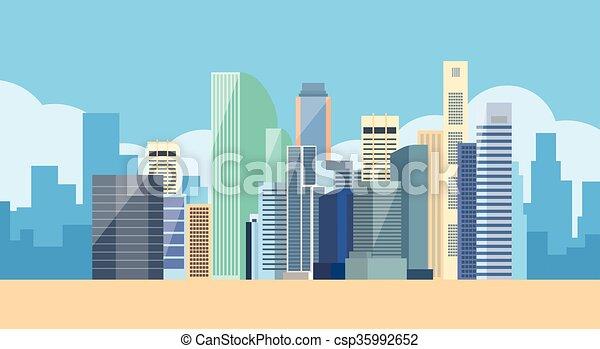 miasto, cielna, nowoczesny, sylwetka na tle nieba, cityscape, prospekt - csp35992652