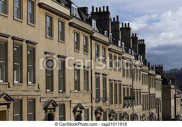 miasto, domy, historyczny, wanna - csp21011918