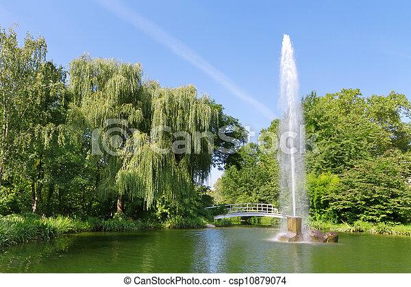 miasto fontanny, park., baden-baden, europa - csp10879074