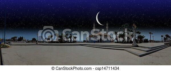 miasto, na, ramadan, jeddah, noc - csp14711434