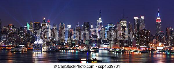 miasto, panorama, sylwetka na tle nieba, york, nowy, manhattan - csp4539701