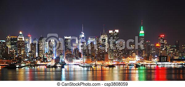 miasto, panorama, sylwetka na tle nieba, york, noc, nowy - csp3808059