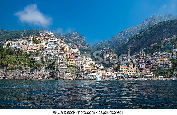 miasto, positano, campania, amalfi płyną, mały, włochy - csp28452921