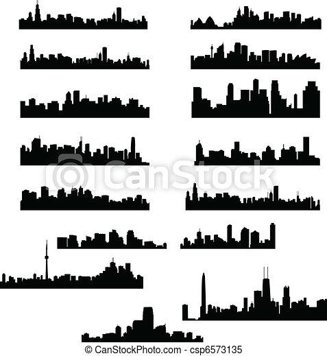 miasto, profile na tle nieba - csp6573135