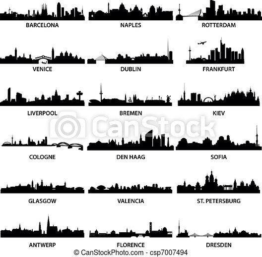 miasto, profile na tle nieba, europejczyk - csp7007494