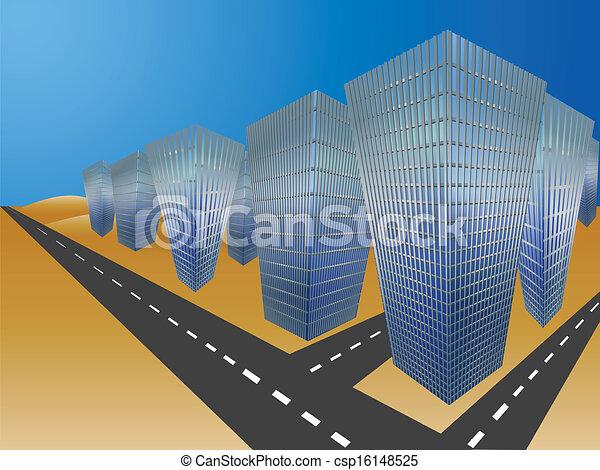 miasto, pustynia - csp16148525