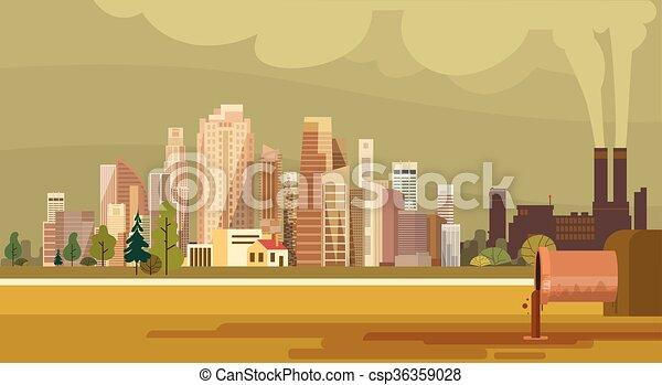 miasto, roślina, rura, natura, zanieczyszczony, woda, brudny, tracić, środowisko, skażenie - csp36359028